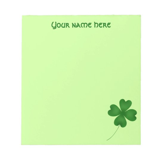 Cute St. Patrick's Day lucky shamrock Notepad