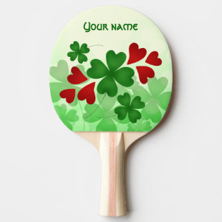 Cute St Patricks Day shamrock and red hearts Ping Pong Paddle
