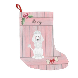 Cute Standard Poodle Pink Wooden Fence Monogram Small Christmas Stocking