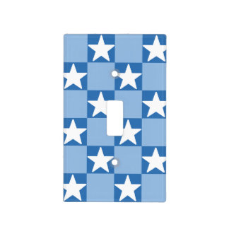 Cute star checkerboard pattern light switch cover