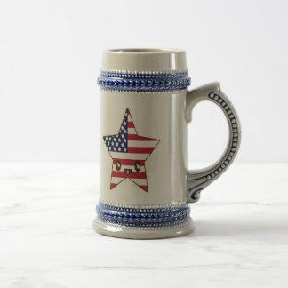 Cute Star Shaped U.S.A. Flag - American Star Beer Stein