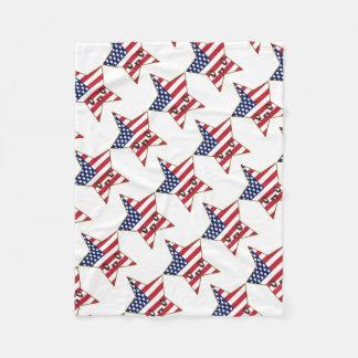 Cute Star Shaped U.S.A. Flag - American Star Fleece Blanket