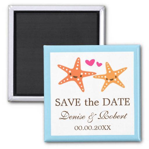 Cute starfish beach wedding Save the Date magnet