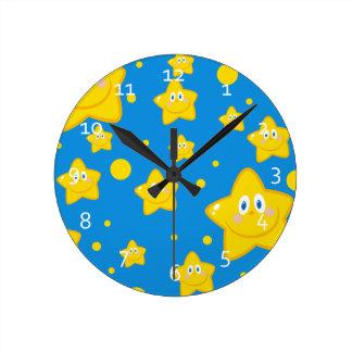 Cute Starry Night Round Clock