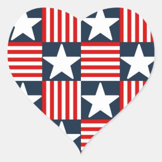 Cute stars and stripes heart sticker