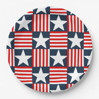 Cute stars and stripes paper plate