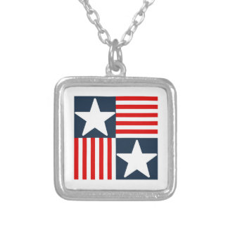 Cute stars and stripes silver plated necklace