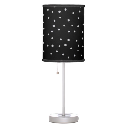 Cute Stars Print Black Table Lamp