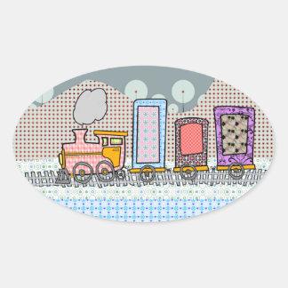 Cute steam train cartoon gifts for boys oval sticker