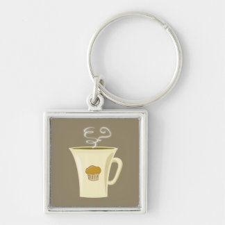 Cute Steaming Coffee Mug Illustration Silver-Colored Square Keychain