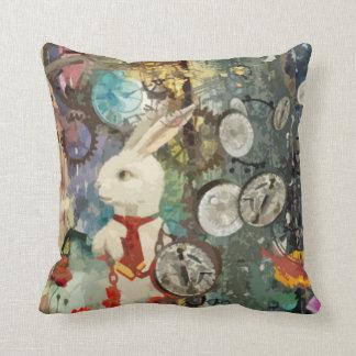 Cute steampunk Alice Wonderland white rabbit Throw Pillow