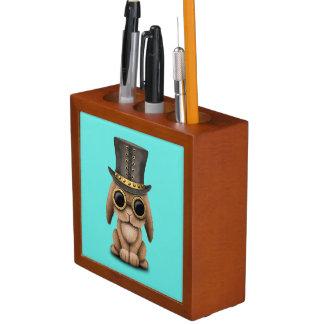 Cute Steampunk Baby Bunny Rabbit Desk Organizer