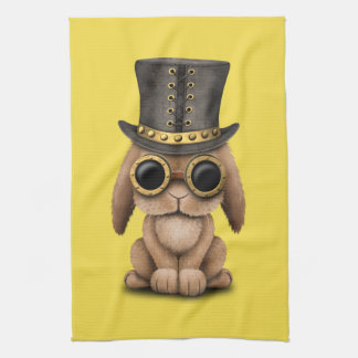 Cute Steampunk Baby Bunny Rabbit Kitchen Towel