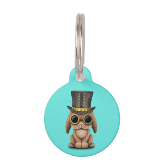Cute Steampunk Baby Bunny Rabbit Pet Name Tag