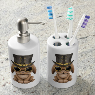 Cute Steampunk Baby Bunny Rabbit Soap Dispenser And Toothbrush Holder
