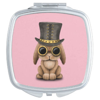 Cute Steampunk Baby Bunny Rabbit Travel Mirror