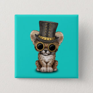 Cute Steampunk Baby Cheetah Cub 2 Inch Square Button