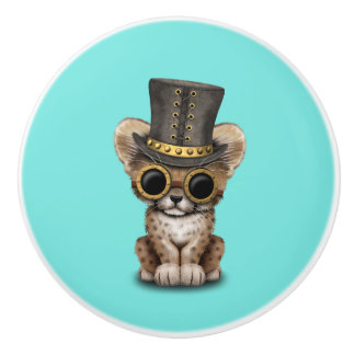 Cute Steampunk Baby Cheetah Cub Ceramic Knob