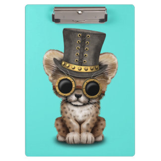 Cute Steampunk Baby Cheetah Cub Clipboard