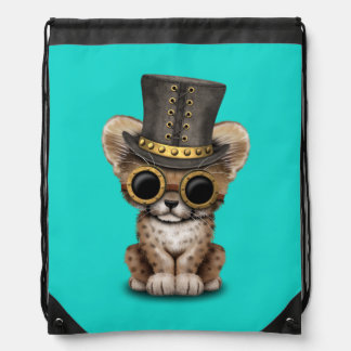 Cute Steampunk Baby Cheetah Cub Drawstring Bag