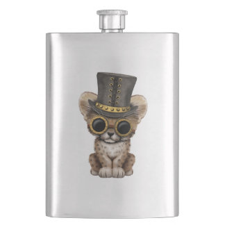 Cute Steampunk Baby Cheetah Cub Flask