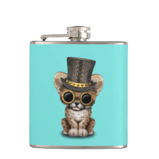 Cute Steampunk Baby Cheetah Cub Hip Flask