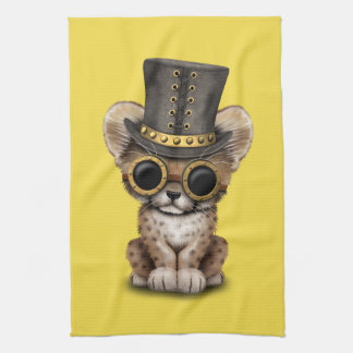 Cute Steampunk Baby Cheetah Cub Kitchen Towel