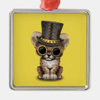 Cute Steampunk Baby Cheetah Cub Metal Ornament