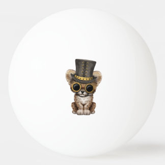 Cute Steampunk Baby Cheetah Cub Ping Pong Ball