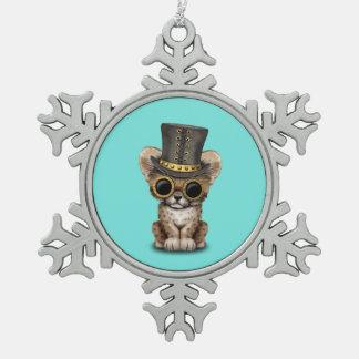 Cute Steampunk Baby Cheetah Cub Snowflake Pewter Christmas Ornament