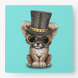 Cute Steampunk Baby Cheetah Cub Square Wall Clock