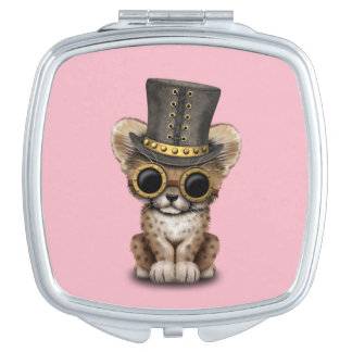 Cute Steampunk Baby Cheetah Cub Vanity Mirror