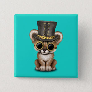 Cute Steampunk Baby Cougar Cub 2 Inch Square Button