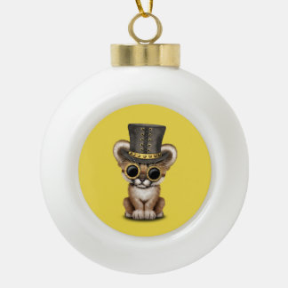 Cute Steampunk Baby Cougar Cub Ceramic Ball Christmas Ornament