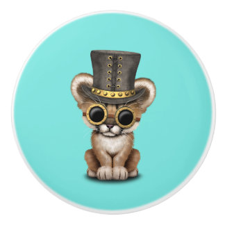 Cute Steampunk Baby Cougar Cub Ceramic Knob