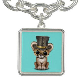 Cute Steampunk Baby Cougar Cub Charm Bracelet