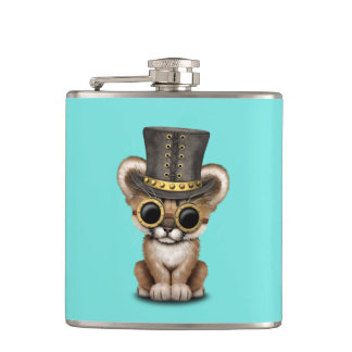 Cute Steampunk Baby Cougar Cub Hip Flask