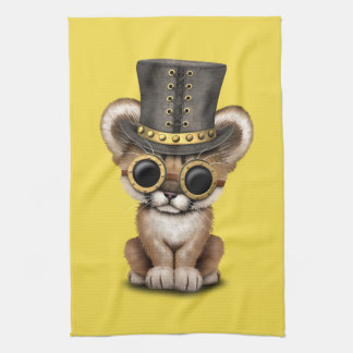 Cute Steampunk Baby Cougar Cub Kitchen Towels