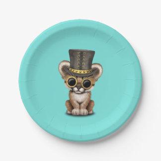Cute Steampunk Baby Cougar Cub Paper Plate