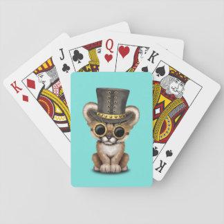 Cute Steampunk Baby Cougar Cub Playing Cards