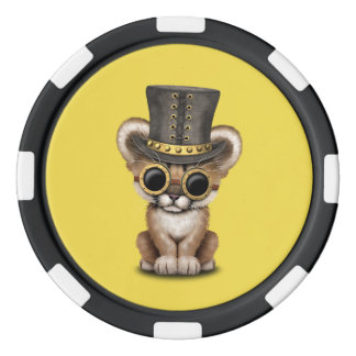 Cute Steampunk Baby Cougar Cub Poker Chips