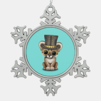 Cute Steampunk Baby Cougar Cub Snowflake Pewter Christmas Ornament