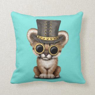 Cute Steampunk Baby Cougar Cub Throw Pillow