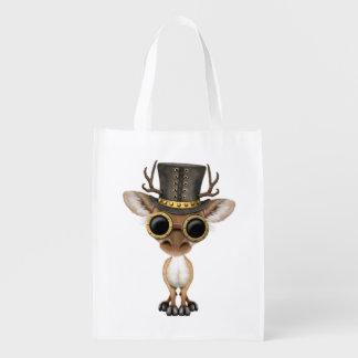 Cute Steampunk Baby Deer Reusable Grocery Bag