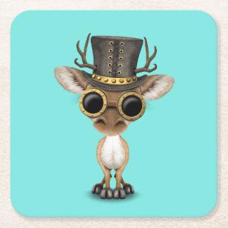 Cute Steampunk Baby Deer Square Paper Coaster