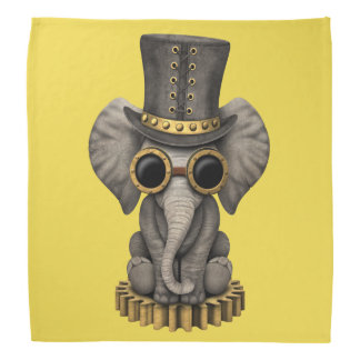 Cute Steampunk Baby Elephant Cub Bandana