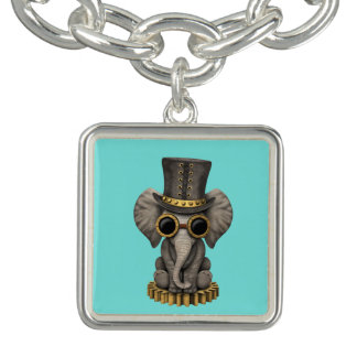 Cute Steampunk Baby Elephant Cub Bracelet
