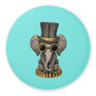 Cute Steampunk Baby Elephant Cub Ceramic Knob