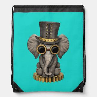Cute Steampunk Baby Elephant Cub Drawstring Bag
