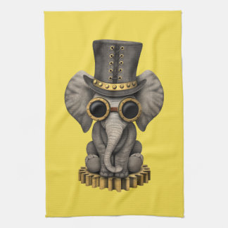 Cute Steampunk Baby Elephant Cub Kitchen Towel